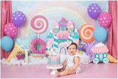 Happy Birthday Baby J. Today she is ONE Cake By - - Smash Cake, Reserve your session at least 3 weeks in advance Booking ➡️… Baby Girl Birthday Theme, Candy Theme Birthday Party, Happy Birthday Baby, Candy Party, First Birthday Parties, Birthday Party Decorations, Birthday Ideas, 1st Birthdays, Candyland