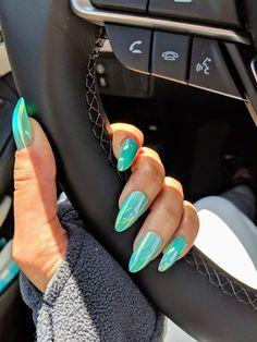 Green mermaid nail tips