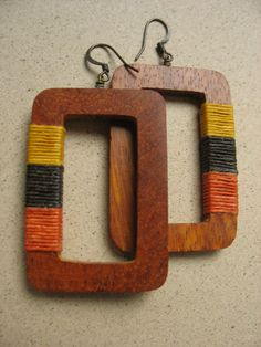 BEGINNING-Rectangular Large Wood Earrings Wrapped in Color Blocked Waxed Irish Linen