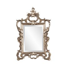 32x20 Beveled Mirror, Beveled Glass, Baroque Mirror, Champagne, Mirror Shapes, Scroll Pattern, Wall Mounted Mirror, Wall Mirror, Antiques