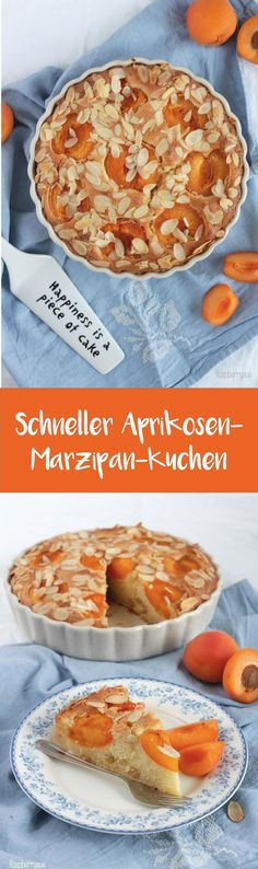 Einfacher Aprikosenkuchen mit Marzipan