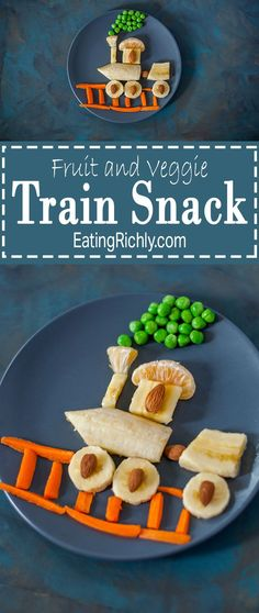 This fruit & veggie train snack is fast and easy to make, & a great way to get produce into any kid who loves trains. You've got to see the reaction video on http://EatingRichly.com!