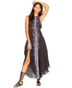 Free People Caught In The Moment T-Strap Printed Chiffon Halter Maxi Dress | macys.com