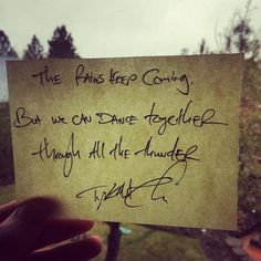 """""""The rains keep coming,but we can dance togetherthrough all the thunder."""" Daily Haiku on Love by Tyler Knott Gregson ___ Fun extras at Patreon.com/TylerKnott ! ____ Chasers of the Light & All The Words Are Yours are Out Now! #tylerknott"""