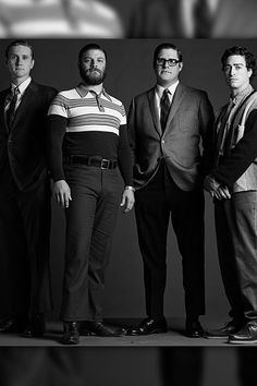 Aaron Staton as Ken Cosgrove, Jay Ferguson as Stan Rizzo, Rich Sommer as Harry Crane and Ben Feldman as Michael Ginsberg.