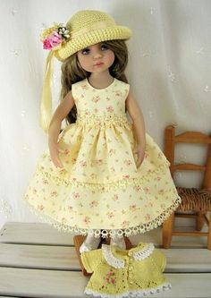 "Outfit-for-Dianna-Effner-Little-Darling-13""Doll-by-Ulla-Yellow-Tiny-Roses"