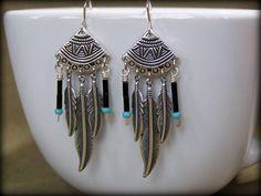 Silver Tribal Feather Earrings by StoneWearDesigns Western Earrings, Tribal Earrings, Western Jewelry, Feather Earrings, Tribal Jewelry, Beaded Earrings, Boho Jewelry, Silver Earrings, Jewelry Design