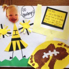 Toddler football art.  Footprint football. Fall art for toddlers