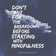 DON'T WAIT FOR THE BREAKDOWN BEFORE STARTING WITH MINDFULNESS. Many people come into contact with mindfulness when rehabilitating them selves after a stress-related breakdown, but all you need is the feeling that you want things to be more balanced. It is true that... https://mariecederholm.com/You-Do-Not-Need-to-Have-a-Breakdown-Before-Starting-with-Mindfulness