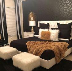Black White & Gold Bedroom - Home - Bedroom Decor Room, Home Decor Bedroom, Bedroom Ideas, Diy Bedroom, Bedroom Designs, Modern Bedroom, Girls Bedroom, Bedroom Themes, Bedroom Furniture