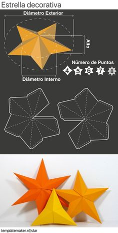 Unlimited, free and custom sized STAR SHAPE templates. Diy Origami, Paper Crafts Origami, Diy Paper, Paper Crafting, Diy Craft Projects, Diy Crafts, Paper Christmas Decorations, Shape Templates, Paper Stars