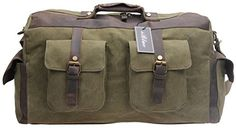 Iblue Oversized Leather Canvas Carry on Duffle Bag Large Tote Luggage Handbag 216 Inch 2858 XL army green -- See this great product. Large Tote, Large Bags, Scout Bags, Best Tote Bags, Photo Bag, Garment Bags, Canvas Leather, Ukulele, Army Green