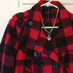 """Forever 21 Plaid Coat❄️ Oh so soft! Red/black plaid. Fully lined. EUC! Size M. Approx meas: chest 19.5"""" laying flat, waist 18"""" laying flat, length 20"""". ✨Save on shipping cost & bundle!!✨ Forever 21 Jackets & Coats"""