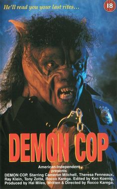 Watch Demon Cop full hd online Directed by Rocco Karega, Hal Miles. With Rocco Karega, Cameron Mitchell, Theresa Fenneaux, Ray Klein. A former probationary officer who is a patient at a menta Horror Movie Posters, Movie Poster Art, Horror Films, Horror Art, Film Posters, Cult Movies, Scary Movies, Horror Pictures, Blu Ray Movies