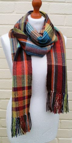 Striped Handwoven Scarf/Woven Scarf/ Long Scarf/Hand Weaving/Winter Scarf - Ready to Ship, UK Seller