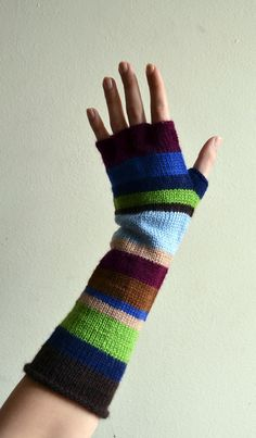 Multistriped Wool Gloves  Color Blocking Accesories  by lyralyra, $35.00