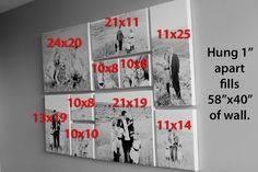 Wall photo collage layout measurements for popular collages of canvas prints frame picture template gallery wal . Canvas Wall Collage, Canvas Prints, Wall Art, Wall Collage Frames, Picture Wall Collage, Family Wall Collage, Canvas Walls, Canvas Wall Decor, Diy Wall