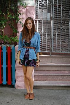 chambray top over a dress, open and belted.