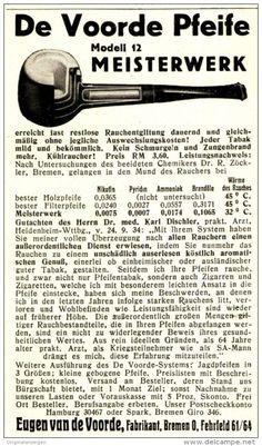 Original-Werbung/ Anzeige 1934 - DIE VOORDE PFEIFE / EUGEN VAN DE VORRDE - BREMEN - ca. 65 x 120 mm
