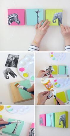 DIY Painted Wood Block Nursery Art | Click for 25 DIY Nursery Decor Ideas | DIY Decorating Ideas for Toddlers Girls Room