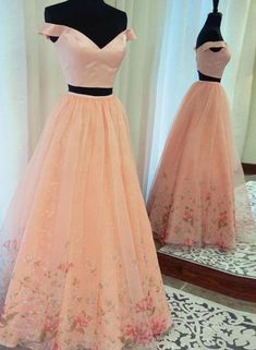 2018 Off Shoulder Two Piece Tulle Prom Dress,