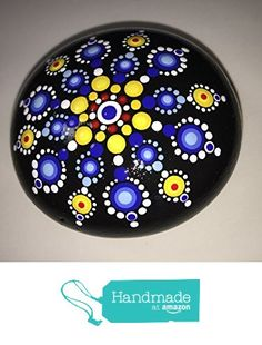Hand Painted Mandala Stone #125 from Mafa Stones http://www.amazon.com...colors of energy and peace make this mandala shine!