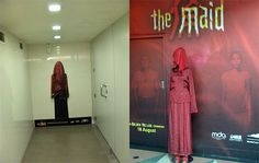 A life size sticker for the horror movie 'The Maid' in Singapore placed near the toilet round the corner. The kind of #advertisement that makes you pee in your pants.