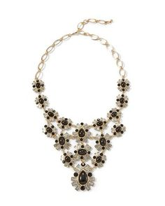 White House | Black Market Jet & Crystal Baguette Bib Necklace #whbm