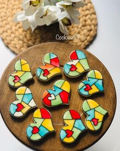 Cookie House, Cookie Box, Royal Icing Cookies, Sugar Cookies, Stained Glass Cookies, Valentines Day Cookies, Edible Gifts, Cute Cookies, Cookie Designs