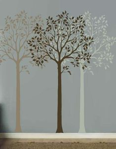 Tree stencil for easy wall decor. Create beautiful rooms with Large Tree stencils, wall art stencils, damask stencils. Get a complimentary stencil and stenciling tips from the pros. Tree Stencil For Wall, Stencils Wall, Stencil Painting On Walls, Tree Stencil, Easy Home Decor, Diy Decor, Large Wall Stencil, Metal Tree Wall Art, Funky Home Decor