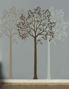 Decorazioni per pareti: stencil e pittura - Decorazione parete con stencil, alberi