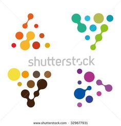 Design triangle logo element. Abstract water molecule vector template set. You can use in biotechnology, energy, environmental protection and electricity equipment, computer science concept icons.  - stock vector
