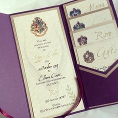 Harry Potter style pocketfold wedding invitations and stationery as featured on the Plans & Presents Blog.