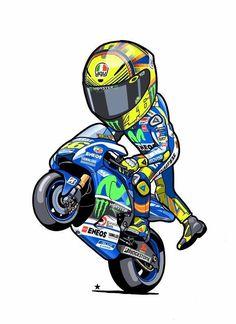 Rossi cartoon …n 1 Gp Moto, Moto Bike, Motorcycle Art, Bike Art, Valentino Rossi Logo, Vale Rossi, Enduro Vintage, Triumph Speed Triple, Super Bikes