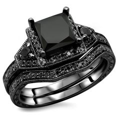 Noori Collection 14k Gold Princess-Cut Black Diamond Engagement Ring... (€1.350) ❤ liked on Polyvore featuring men's fashion, men's jewelry, men's rings, rings, jewelry, mens gold rings, mens black diamond rings, mens yellow gold rings, mens engagement rings and mens 14k gold rings