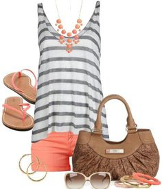 Cute summer outfit and summer colors. :) I have a few coral statement necklaces, so I wouldn't need another.