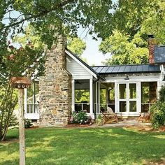 Outdoor living is really important. I would love a huge screened in porch. The best part of this is the fireplace.