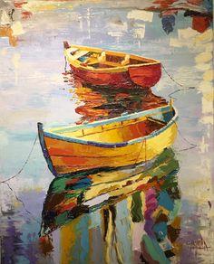 Reflejos en el agua   Reflections in the water Artista: Analía González Nieto Óleo sobre tela Boat Art, Boat Painting, Acrylic Art, Unique Art, Watercolor Paintings, Abstract Art, Fine Art, Illustration, Drawings