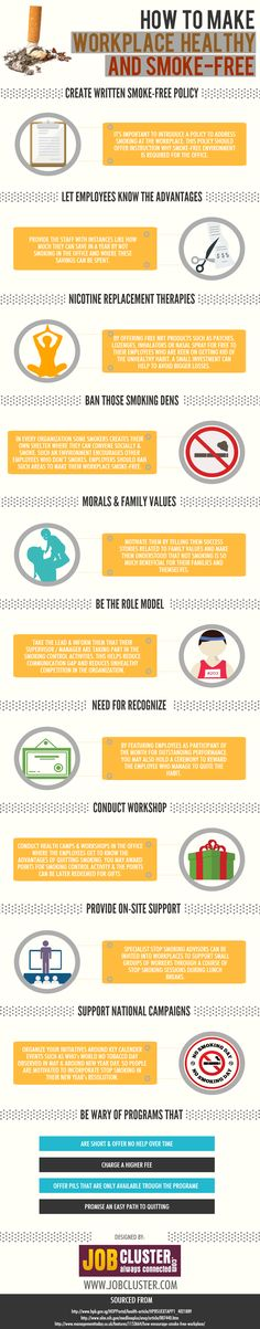 How to Make Workplace Healthy and Smoke-Free #infographic