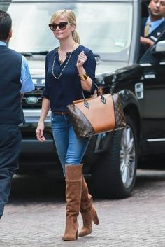 Reese Witherspoon wearing Louis Vuitton W Bag and Michael Michael Kors Regina Over the Knee Boots