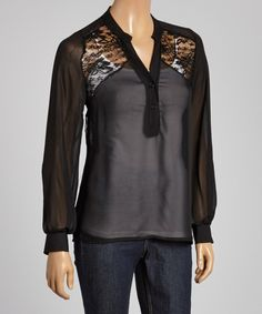 Look at this Good Stuff Apparel Black Lace-Shoulder Button-Up Top - Women on #zulily today!