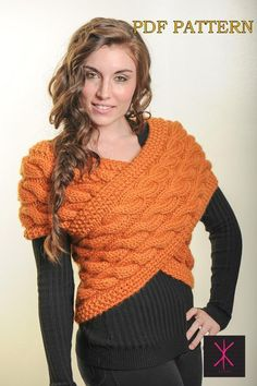 Handknit designer Sweater Vest Wrap PDF  via Craftsy