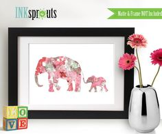 INSTANT DOWNLOAD Watercolor Elephant family Print by InkSprouts