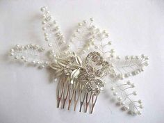 Kalini Silver And White Botanical Boho Floral Bridal Hair Comb Hair Comb, Headpiece, Bridal Hair, Seed Beads, Bobby Pins, Wedding Day, Hair Accessories, Crafty, Boho