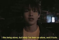 Even when I'm with others, I feel alone. There's no way to feel there with someone for me. There's a person there but it feels as if I'm alone… Bts Lyrics Quotes, Bts Qoutes, Mood Quotes, True Quotes, I Need U Bts, I Like Being Alone, Bts Texts, Quote Aesthetic, Bts Boys