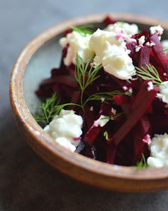 Raw beet salad with horseradish, cranberry, and cottage cheese