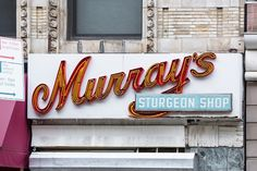 Murray's Sturgeon Shop, NY. Photo by Lia Bekyan for Hopes&Fears. Typography, Lettering, Neon Lighting, Shop Signs, Broadway, Type, Design, Letterpress, Letterpress Printing