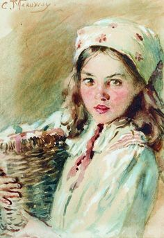 "Константин Егорович Маковский (Konstantin Egorovič Makovsky), ""Головка девочки в платке"" (""Head of a Girl in a Kerchief"")"