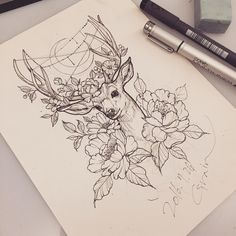 tattoo_grain: #deer#deertattoo#deerdrawing#deersketch#peony#peonytattoo#flower#flowertattoo#neotraditional#neotraditionaltattoo