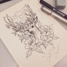 tattoo_grain: #deer#deertattoo#deerdrawing#deersketch#peony#peonytattoo#flower#flowertattoo#neotraditional#neotraditionaltattoo